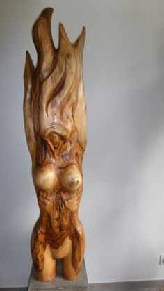 """ FIERY WOMAN "" by Jan Van Braekel wood sculpture"
