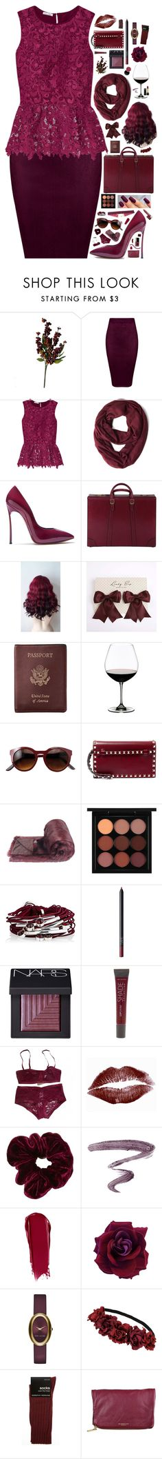 """424"" by glitterals ❤ liked on Polyvore featuring Oscar de la Renta, Casadei, Gucci, Royce Leather, Riedel, Valentino, Helen Moore, MAC Cosmetics, Gillian Julius and NARS Cosmetics"