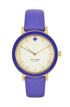 For instant happiness, add a bright purple Kate Spade watch to your outfit.