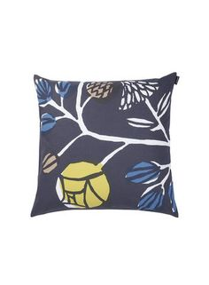 Kranssi in grey, yellow, blue Cushion Cover 50cm .Buy all Marimekko cushions online in NZ and Aussie.