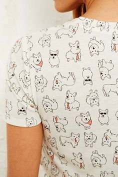 BDG V-Neck Corgi Tee at Urban Outfitters. Love the pattern!