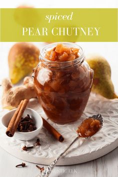 This spiced pear chutney is the perfect blend of pears and fall inspired sauces and great for topping pork and poultry. Pear Recipes, Fruit Recipes, Indian Food Recipes, African Recipes, Curry Recipes, Chutney Recipes, Canning Pears, Pear Sauce, Canning Recipes