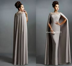 Dubai Kaftan Jersey Cape Evening Dresses Muslim Arabic Long Formal Party Gowns