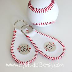 The Original Baseball Keychain - genuine leather - Hand Stamped Charm. $11.00, via Etsy.