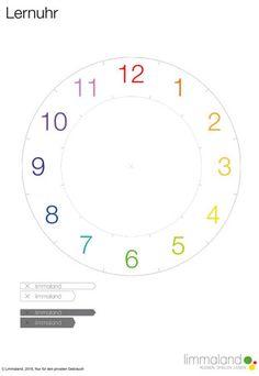 Uhrzeit lernen - Bastelvorlage Seite 2 www.limmaland.com