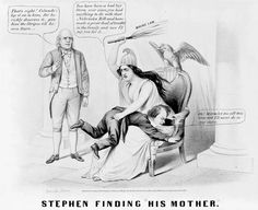 "(1860) ""Mother"" Columbia, seated in a chair adorned with an eagle and shield, holds Stephen Douglas over her knee and spanks him with a switch labeled ""Maine Law"", with Uncle Sam at the left. (Currier & Ives)"