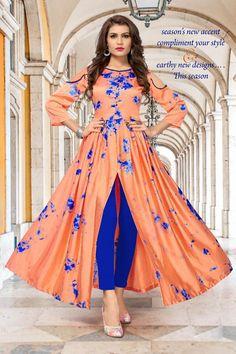 Orange Color Taiwan Satin Silk Kurti With Shibori Print Party Wear Kurtis, Kurti Designs Party Wear, Designer Gowns, Indian Designer Wear, Indian Designers, Frock Style Kurti, Stylish Gown, Silk Kurti, Anarkali Kurti