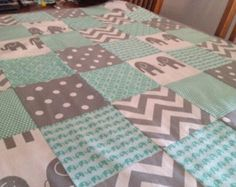 Patchwork Cot Quilt Made in Australia Mint and Grey chevron - Edit Listing - Etsy