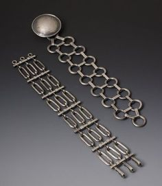 Donna Veverka Jewelry { Bracelets } Architectural Link (oxidized silver) & Chainmail & Shield (forged)  &Shield: Hand-forged sterling silver with oxidization. $750