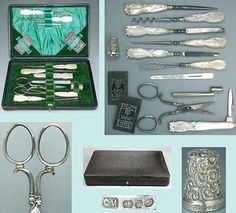 Sewing set sterling silver Sold for $260 Bidders 9