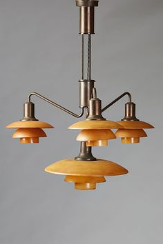 Adjustable ceiling light designed by Poul Henningsen for Louis Poulsen, Denmark. 1930's.
