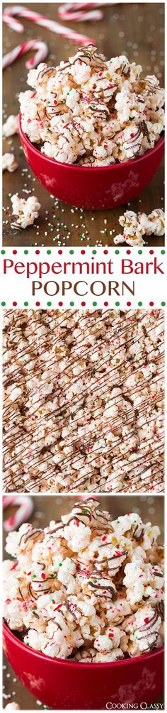 Peppermint Bark Popcorn - this is ADDICTIVE! Its even better than the real thing! Popcorn is coated with peppermint flavored white chocolate then its drizzled with semi sweet chocolate and sprinkled with crushed candy canes. christmas food and drink Christmas Snacks, Christmas Cooking, Holiday Treats, Holiday Recipes, Christmas Candy, Christmas Recipes, Christmas Gifts, Christmas Goodies, Christmas Christmas