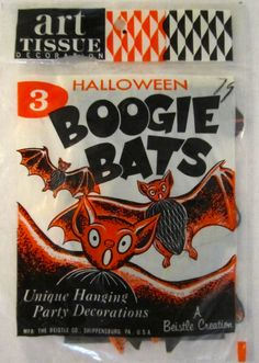 """3 pack of Vintage Beistle Halloween """"Boogie Bats"""" from the late 1960's"""