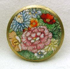 Vintage Satsuma Button Multiple Colorful Flowers w/ Gold Border