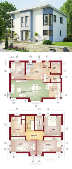 Pultdachhaus Architektur modern mit Erker - Haus bauen Grundriss Einfamilienhaus mit Pultdach Evolution 148 V9 Bien Zenker Fertighaus - HausbauDirekt.de
