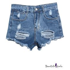 Blue High Waist Ripped Frayed Cuffs Denim Shorts ($14) ❤ liked on Polyvore featuring shorts, bottoms, blue jean shorts, high-waisted jean shorts, denim shorts, high-waisted denim shorts and high waisted denim shorts