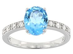 Oval Swiss Blue Topaz and Round White Zircon Rhodium Over Sterling Silver Ring. Measures approximately x Not sizeable. White Topaz, Blue Topaz, Heart Promise Rings, Broken Chain, Topaz Gemstone, Jewelry Collection, Sterling Silver Rings, Jewels, Engagement Rings