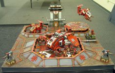 Armies On Parade 2014 has come and gone and I wanted to share with everyone this spectacular Red Templars Space Marine Airbase display done … Game Terrain, 40k Terrain, Wargaming Terrain, Warhammer Terrain, Space Wolves, Freedom Fighters, The Grim, Warhammer 40000, Space Marine