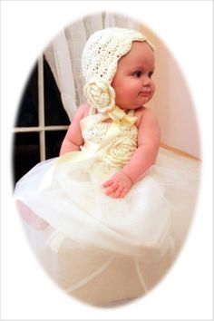 Infant Hand Crochet Tutu Dress with matching crochet hat (Size newborn to 6 months) Christening Gown on Etsy, $85.00