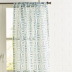 Shibori is a Japanese manual resist-dyeing technique that produces patterns on fabric. Our navy Shibori Geometric curtain offers a light-filtering airy vibe, plus the easy-hang appeal of rod pocket construction. Swag Curtains, Sheer Curtains, Panel Curtains, Geometric Curtains, Patterned Curtains, Contemporary Lounge, Home Design Diy, Design Ideas, Wall Drawing