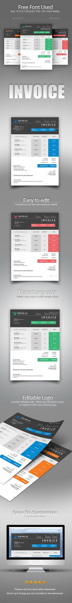 Invoice With Letterhead Bundle Ai illustrator, Template and - letterheads templates free download