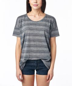 Love this Charcoal Gray Stripe Scoop Neck Top by tresics on #zulily! #zulilyfinds