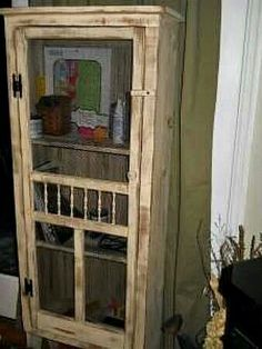 Use old screen door to make a small pantry closet or bathroom storage in casita