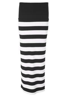 Jerseyrock    Auf allen Ebenen beeindruckt dieses Design mit ausdrucksstarker Optik. Der Jerseyrock zieht Blicke magisch an und hält sie mit einem überaus beeindruckenden Schwarz-Weiß-Kontrast in horizontaler Ausrichtung. Mit hohem Taillenbündchen zum Umschlagen und einem attraktiven Seitenschlitz bietet der Schnitt zudem angenehmen Tragekomfort und viel Bewegungsfreiheit. Dadurch kann der Bloc...