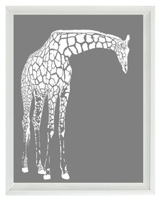 Giraffe Nursery Wall Art Prints   White Gray by RizzleandRugee, $15.00