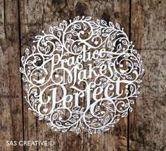 Papercut Template 'Practice Makes Perfect' Printable PDF JPEG for handcutting & SVG file for Silhouette Cameo or Cricut Paper Cutting Patterns, Paper Cutting Templates, Quilling Comb, Neli Quilling, Silhouette America, Paper Art, Paper Crafts, Cut Paper, Quilled Roses