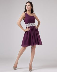 osell wholesale dropship One Shoulder Chiffon Ruffle & Bead Thigh Length Cocktail Dresses $61.49