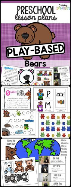 Preschool Lesson Plans- Bears - This preschool thematic unit is all about bears! Two weeks of pre-k lesson plans that combine lear - Pre K Lesson Plans, Lesson Plans For Toddlers, Kindergarten Lesson Plans, Preschool Lessons, Pre Kindergarten, Bear Theme Preschool, Preschool Themes, Preschool Math, Toddler Preschool