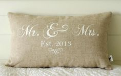 Mr. and Mrs. Pillow Cover, 12x20 lumbar, choice of black or vintage white writing or custom color, Established date by ThePillowGardenCo on Etsy https://www.etsy.com/listing/152644461/mr-and-mrs-pillow-cover-12x20-lumbar