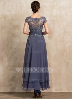 Scoop Neck Asymmetrical Chiffon Lace Mother of the Bride Dress With Beading - JJ's House Mother Of Bride Outfits, Mother Of Groom Dresses, Mother Of The Bride, Formal Dresses Long Elegant, Formal Dresses With Sleeves, Short Sleeve Dresses, Chiffon, Marie, Evening Dresses