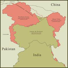 Map of Kashmir Border Disputes