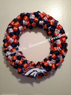 Denver Broncos Football Team Ribbon Wreath on Etsy, $35.00