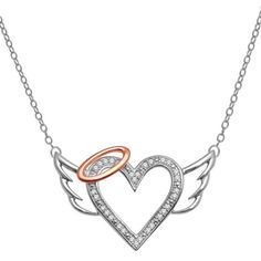 Diamond Accent Heart with Halo and Wings Pendant in Sterling Silver and 10K Rose Gold