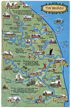 Postcard map of the Broads, England Norfolk Broads, Norfolk England, Yorkshire England, East Yorkshire, Norfolk Beach, Norfolk Coast, Road Trip Uk, Norwich Norfolk, Great Yarmouth