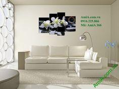 Tranh đồng hồ hoa phong lan amia 366 kết hợp tông nền đen trắng tô điểm không…
