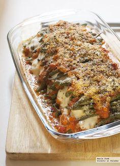 Lasaña de mozzarella y judías verdes gratinadas. Receta barefootstyling.com