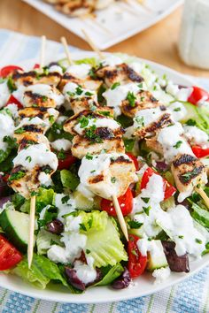 "yummyinmytumbly: "" Grilled Chicken Souvlaki Salad with Creamy Feta and Dill Dressing """