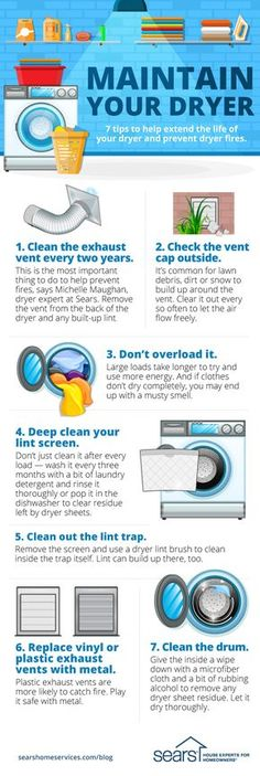 7 Dryer Maintenance Tips You Need to Know — Try these tips and hacks to help extend the life of your dryer, increase safety and make laundry day easier. Clean the exhaust vent every two years. Check the vent cap outside. Don't overload the dryer. Deep clean your lint screen. Clean out the lint trap. Replace vinyl or plastic exhaust vents with metal. Clean the drum. Follow these dryer maintenance tips to help extend the life of your dryer. Visit the Sears Home Services Knowledge Center for…