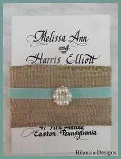 "Burlap and Velvet Wedding Invitation by Bilancia Designs, ""The Cowgirl Wedding Line""."