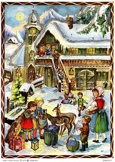 Advent Calendar wirh pictures / made in Germany/ pic / magical / prepare for the holidays Vintage Christmas Cards, Vintage Cards, Days In December, First Love, Germany, Santa, Drawings, Illustration, How To Make