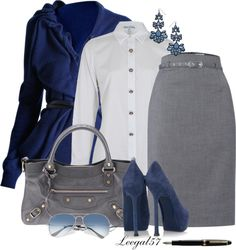 """Business Lunch Blue and Gray"" by leegal57 ❤ liked on Polyvore"