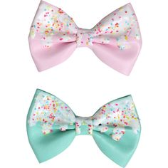 Pink Mint Icing Sprinkles Hair Bow Set Hot Topic ($7.90) ❤ liked on Polyvore featuring accessories, hair accessories, pink hair bow, pink mint, bow hair accessories and pink hair accessories