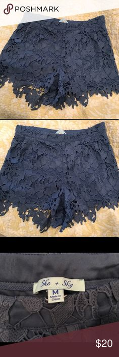 Blue Crochet Lace Shorts Never worn, new without tags, true size is 4-6 even though the tag says medium She and Sky Shorts