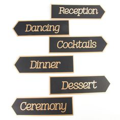 <div>Help your wedding guests find their way with these black and gold directional signs. They a...