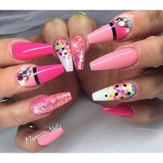 Pink coffin nails summer 2016 nail art