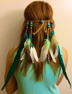 This is a listing for a tribal Native American inspired boho feather headband  Please note since feathers vary so will eac...